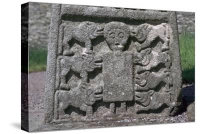 Depiction of Daniel in the Lion's Den on the Moone Cross, 7th century. Artist: Unknown-Unknown-Stretched Canvas Print