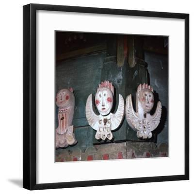 Carved and painted wooden angels from a church in Finland, 18th century. Artist: Unknown-Unknown-Framed Giclee Print