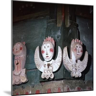 Carved and painted wooden angels from a church in Finland, 18th century. Artist: Unknown-Unknown-Mounted Giclee Print
