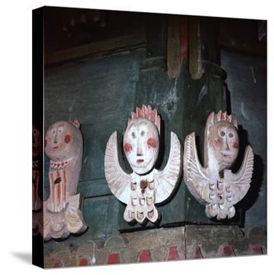 Carved and painted wooden angels from a church in Finland, 18th century. Artist: Unknown-Unknown-Stretched Canvas Print