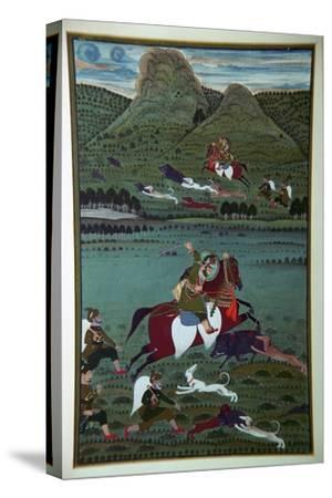Painting of Maharana Jawan Singh hunting wild boars, 19th century. Artist: Unknown-Unknown-Stretched Canvas Print