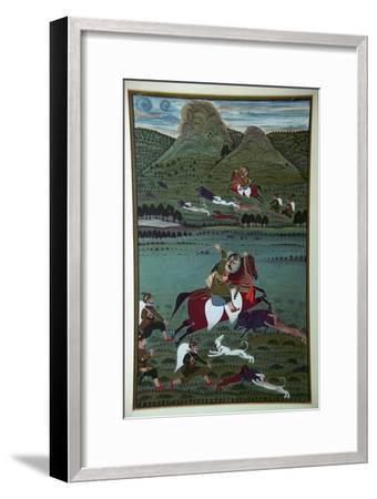 Painting of Maharana Jawan Singh hunting wild boars, 19th century. Artist: Unknown-Unknown-Framed Giclee Print