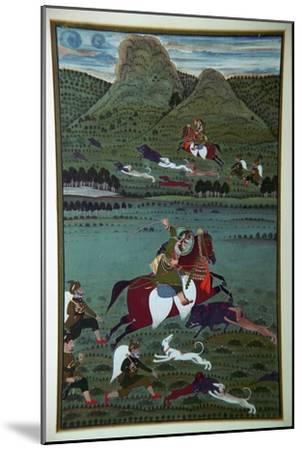 Painting of Maharana Jawan Singh hunting wild boars, 19th century. Artist: Unknown-Unknown-Mounted Giclee Print
