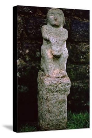 Stone figure from a Mithraeum near Hadrian's Wall, 3rd century. Artist: Unknown-Unknown-Stretched Canvas Print
