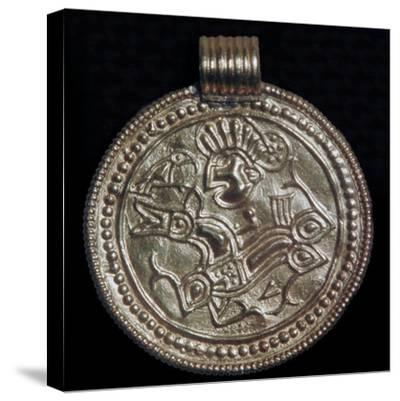Gold bracteate from Sweden showing Odin and a raven. Artist: Unknown-Unknown-Stretched Canvas Print