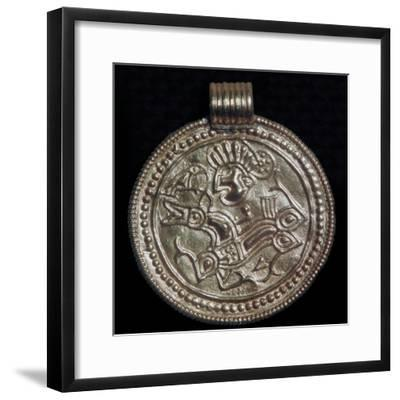 Gold bracteate from Sweden showing Odin and a raven. Artist: Unknown-Unknown-Framed Giclee Print