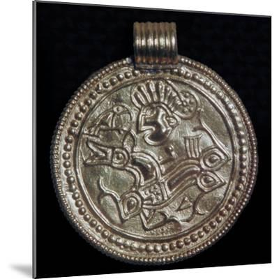 Gold bracteate from Sweden showing Odin and a raven. Artist: Unknown-Unknown-Mounted Giclee Print