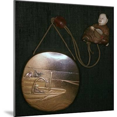 Japanese Netsuke and purse, 19th century. Artist: Unknown-Unknown-Mounted Giclee Print