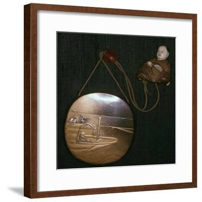 Japanese Netsuke and purse, 19th century. Artist: Unknown-Unknown-Framed Giclee Print