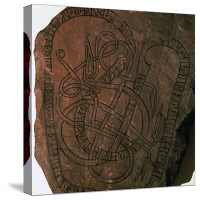 Viking runes on a gravestone. Artist: Unknown-Unknown-Stretched Canvas Print