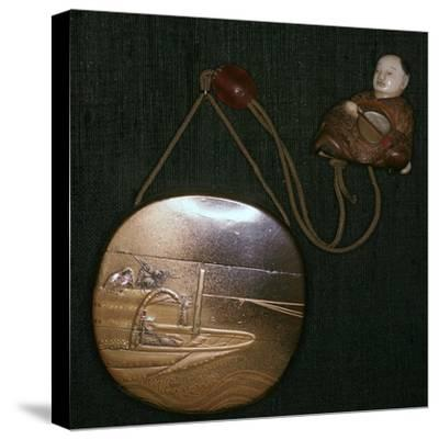 Japanese Netsuke and purse, 19th century. Artist: Unknown-Unknown-Stretched Canvas Print