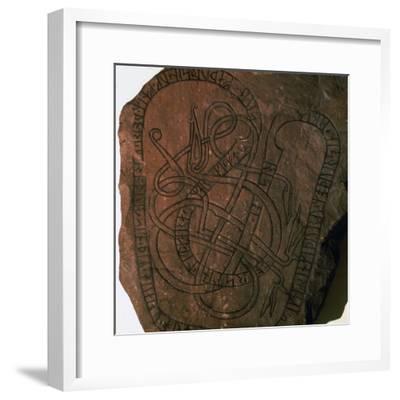 Viking runes on a gravestone. Artist: Unknown-Unknown-Framed Giclee Print