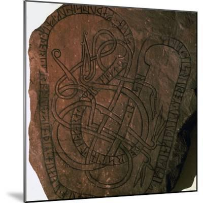 Viking runes on a gravestone. Artist: Unknown-Unknown-Mounted Giclee Print