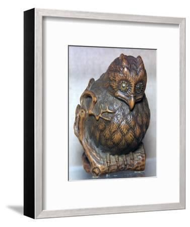 Japanese Netsuke of an owl. Artist: Unknown-Unknown-Framed Giclee Print