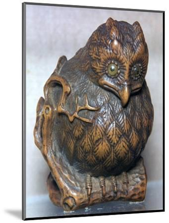 Japanese Netsuke of an owl. Artist: Unknown-Unknown-Mounted Giclee Print