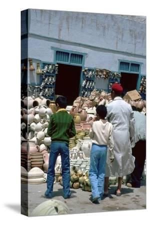 Pottery shop in Kairouan in Tunisia. Artist: Unknown-Unknown-Stretched Canvas Print