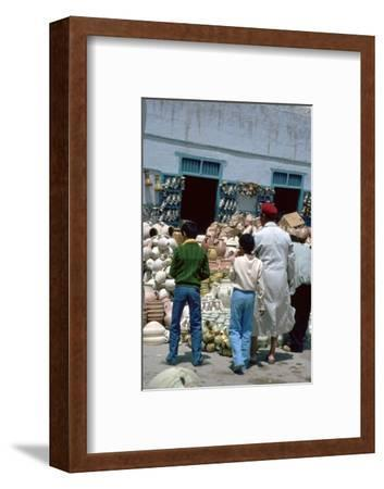 Pottery shop in Kairouan in Tunisia. Artist: Unknown-Unknown-Framed Photographic Print