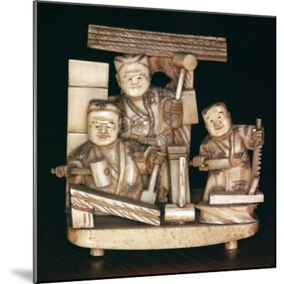 Japanese ivory of carpenters, 19th century. Artist: Unknown-Unknown-Mounted Giclee Print