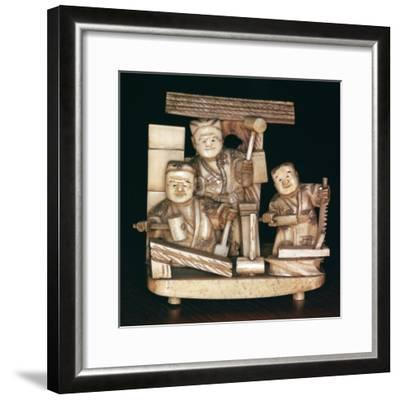 Japanese ivory of carpenters, 19th century. Artist: Unknown-Unknown-Framed Giclee Print