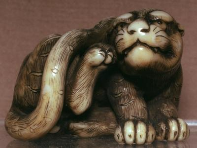 Japanese Netsuke of a tiger, 19th century. Artist: Unknown-Unknown-Framed Giclee Print