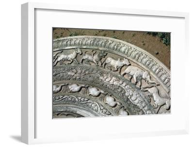 Moonstone at the Queen's Pavilion in Anuradhapura, 8th century. Artist: Unknown-Unknown-Framed Giclee Print