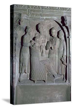 Depiction of Roman women's hair dressing on an altar. Artist: Unknown-Unknown-Stretched Canvas Print