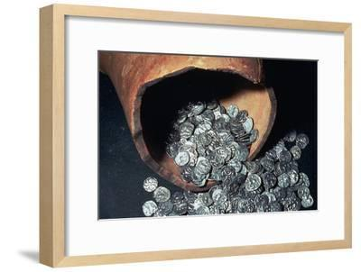 Celtic silver coins from a hoard. Artist: Unknown-Unknown-Framed Giclee Print