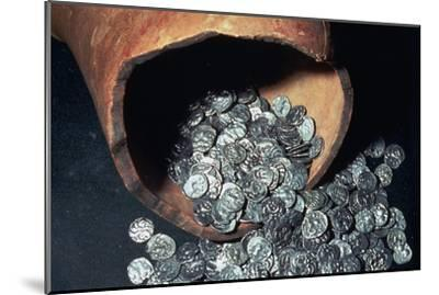 Celtic silver coins from a hoard. Artist: Unknown-Unknown-Mounted Giclee Print