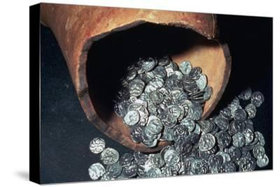 Celtic silver coins from a hoard. Artist: Unknown-Unknown-Stretched Canvas Print