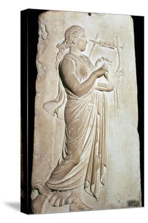 Neo-Attic relief of the Muse Citharide. Artist: Unknown-Unknown-Stretched Canvas Print