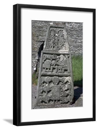 Base of the east face of the Moone Cross, 7th century. Artist: Unknown-Unknown-Framed Giclee Print