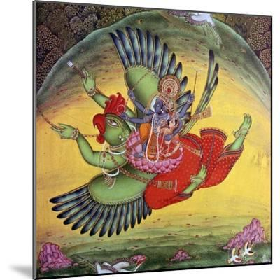 Painting of Vishnu and his consort Lakshmi riding on the bird-god Garuda. Artist: Unknown-Unknown-Mounted Giclee Print