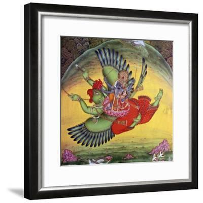 Painting of Vishnu and his consort Lakshmi riding on the bird-god Garuda. Artist: Unknown-Unknown-Framed Giclee Print