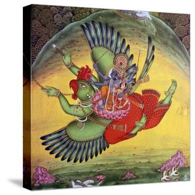 Painting of Vishnu and his consort Lakshmi riding on the bird-god Garuda. Artist: Unknown-Unknown-Stretched Canvas Print