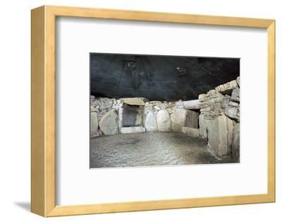 Interior of a passage grave at Fourknocks, 3000 to 2500 BC. Artist: Unknown-Unknown-Framed Photographic Print