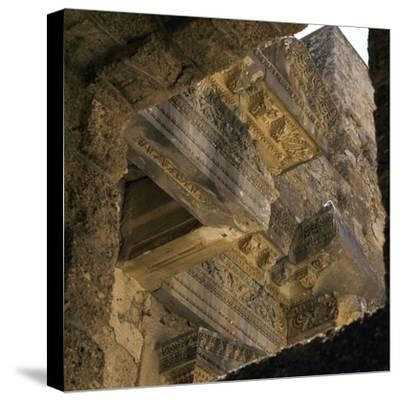 Stonework on the facade of the stage of the theatre in Aspendos, 2nd century. Artist: Unknown-Unknown-Stretched Canvas Print