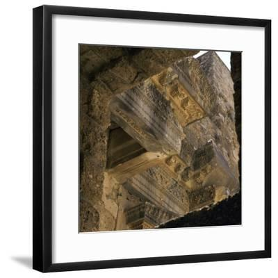 Stonework on the facade of the stage of the theatre in Aspendos, 2nd century. Artist: Unknown-Unknown-Framed Photographic Print