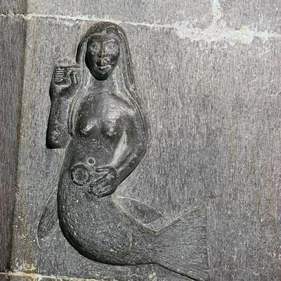 Mermaid on the chancel arch of Clonfert Cathedral, 12th century. Artist: Unknown-Unknown-Framed Giclee Print