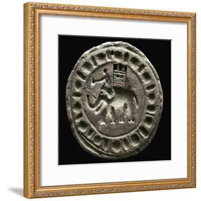 Terracotta plaque showing a war elephant. Artist: Unknown-Unknown-Framed Giclee Print
