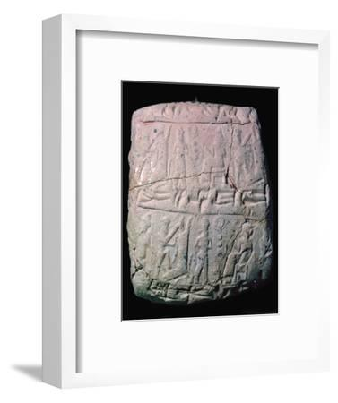 Hittite clay envelope to hold a letter on a clay tablet, 18th century. Artist: Unknown-Unknown-Framed Giclee Print