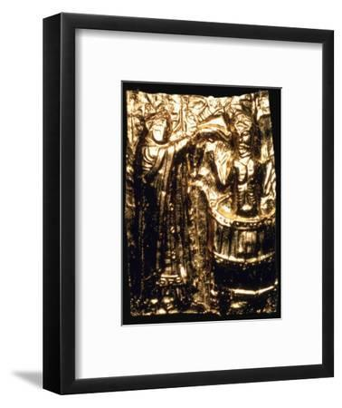 Gilt plaque of King Harald's baptism, 10th century. Artist: Unknown-Unknown-Framed Giclee Print
