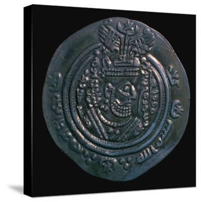 Silver dirham of the governor Abdullah Ibn Khazin, 7th century. Artist: Unknown-Unknown-Stretched Canvas Print