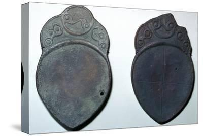 Pair of bronze ritual iron age spoons. Artist: Unknown-Unknown-Stretched Canvas Print