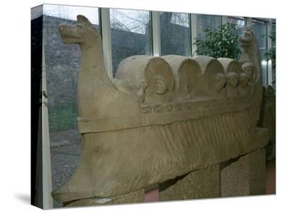 Roman funerary sculpture of a wine-boat. Artist: Unknown-Unknown-Stretched Canvas Print