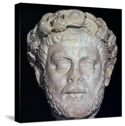 Stone head of Diocletian, 3rd century. Artist: Unknown-Unknown-Stretched Canvas Print