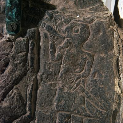 Detail of the Heimdall Cross-Slab on the Isle of Man, 10th century. Artist: Unknown-Unknown-Framed Giclee Print