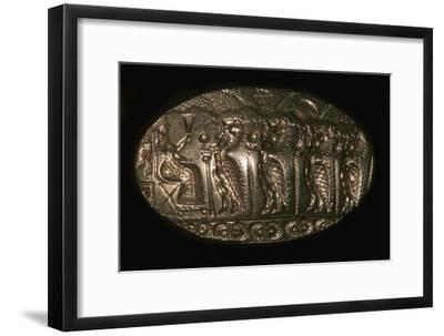 Mycenaean gold signet ring picturing a fertility rite, 13th century BC. Artist: Unknown-Unknown-Framed Giclee Print
