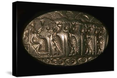 Mycenaean gold signet ring picturing a fertility rite, 13th century BC. Artist: Unknown-Unknown-Stretched Canvas Print