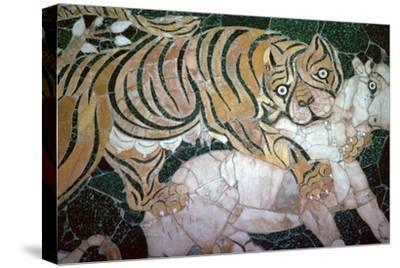 Opus sectile mosaic of a tiger seizing a calf, 4th century. Artist: Unknown-Unknown-Stretched Canvas Print