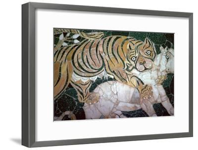 Opus sectile mosaic of a tiger seizing a calf, 4th century. Artist: Unknown-Unknown-Framed Giclee Print